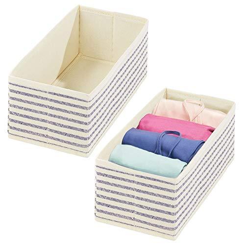 mDesign Juego de 2 cestas organizadoras – Separadores de cajones con diseño de Rayas para Ropa Interior, Accesorios y Joyas – Cestas Plegables de Fibra sintética Transpirable – Color bambú y Azul