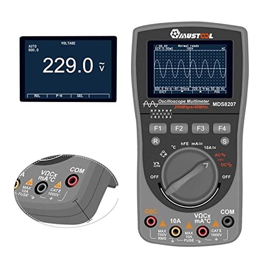 GZTYLQQ Medidor Digital: MDS8207 2 en 1, multímetro de osciloscopio de Almacenamiento Digital Inteligente, probador de osciloscopio automático de una tecla con GRAP analógico