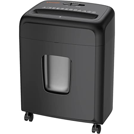Shredder for Home Office, Bonsaii Micro Cut Paper and Credit Card Shredder, 8-Sheet Document Shredder with 4 Gallons Pull Out Bin and Movable Wheels, Black