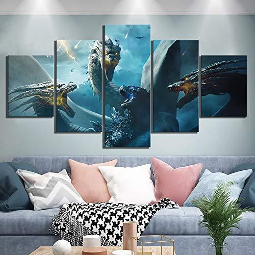 GHDE& 5 Piezas HD Fantasy Art Paintings Godzilla Rey de El Película Monstruos Póster Imágenes del dragón Lona Pinturas de Pared de Arte