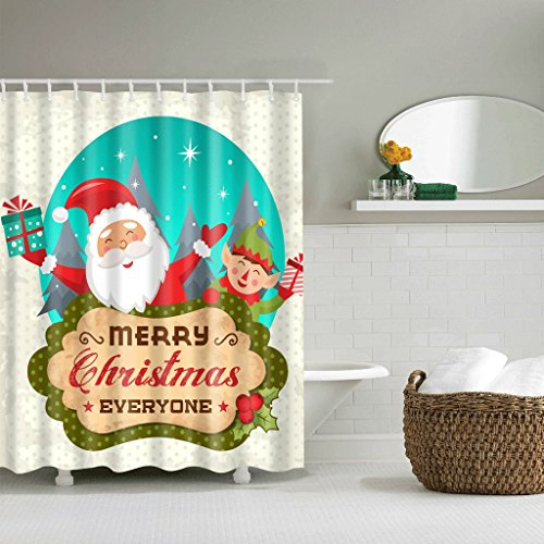 WTL Rideaux de douche Rideaux de douche Merry Christmas Pattern Waterproof Quick To Dry Matériaux de protection de l'environnement Crochet métallique Trou suspendu (taille : 180 * 200cm)