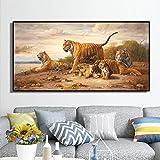 JHGJHK Realista Tigre Arte Pintura al óleo sin Marco Pintura decoración Sala de Estar decoración del hogar Regalo