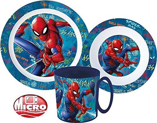 Spiderman Kinder-Geschirr Set mit Teller, Müslischale und Trinkbecher