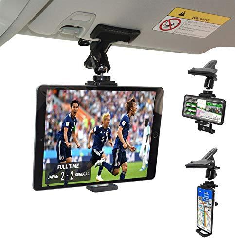 ZenCT - Supporto a clip da auto per tablet e telefoni con visiera parasole per auto, per iPhone e iPad da 4 a 10 pollici in diagonale