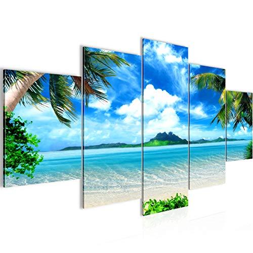 Runa Art - Cuadro Playa Palmeras 200 x 100 cm 5 Piezas XXL Decoracion de Pared Diseño Azul Beige 603351a