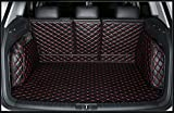 FHJBP Custom Fit Pet Trunk Cargo Liner Floor Mat for 2018-2020 Jeep Wrangler 4 Door (No Subwoofer on The Right Side of The Trunk, Black w/Red Stitching)