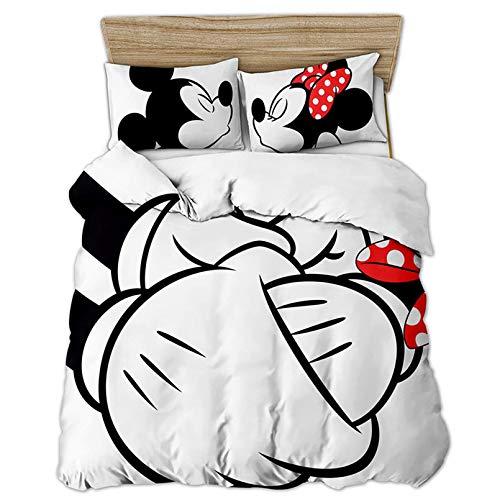 DAMEILI Disney Mickey y Minnie Mouse Juego de cama, funda de edredón y funda de almohada, microfibra, impresión digital 3D, 2/3 piezas (D,200 x 200 cm)