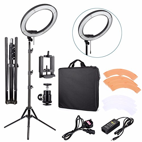 EACHSHOT ES240 Kit CRI 95+ {Including Light, Stand, Phone Clamp, Tripod Head }240 LED 18' Stepless Adjustable Ring Light Camera Photo/Video Portrait Photography 5500K Dimmable (Light Stand Included)