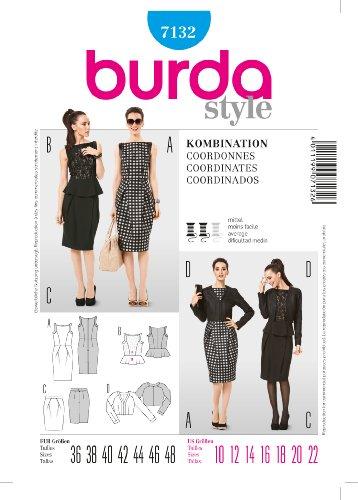 Burda Schnittmuster 7132 Shiftkleid - Kurzjacke Gr. 36-48