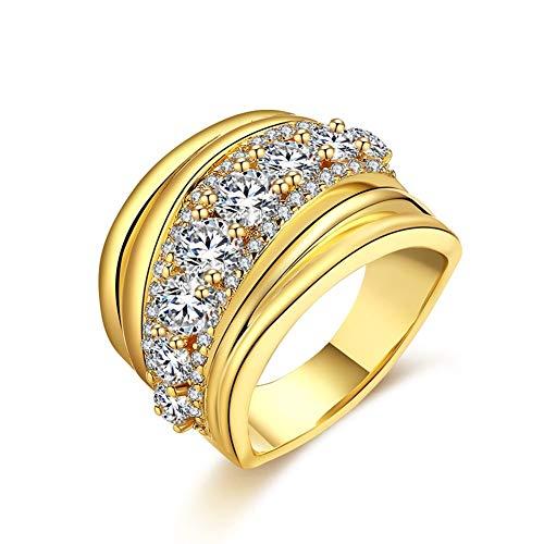 Mini-ring Unisex Romantische Bal Zirkoon Pave Brons Geometrische Platte Ring K Goud Zirkoon Ring Mode Trend Ring Stijlvolle Pavé Platte Ring