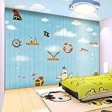Habitación infantil papel pintado de dibujos animados pirata capitán estilo mediterráneo mural protección del medio ambiente tv fondo p Papel tapiz no tejido Papel tapiz 3D Decoración-250cm×170cm