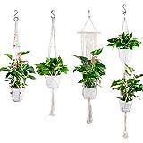 Ulikey Set of 4 Macramé Perchas de Plantas, Colgador para Plantas Cuerda Soporte de Macetas Suspensión Colgador...