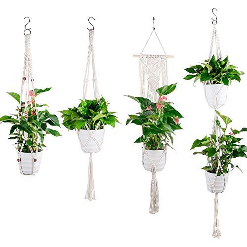 Ulikey Set of 4 Macramé Perchas de Plantas, Colgador para Plantas Cuerda Soporte de Macetas Suspensión Colgador de Pared Decoración del Jardín del Balcón (Colour 1)