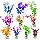 WEONE Fische Tank Plastikpflanzen für Aquarien, 10 Stück Aquarien Pflanzen Künstlich Set,...