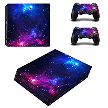Decal Moments PS4 Pro Console Skins Set Vinyl Decal Sticker for Playstation 4 Pro Console 2 Controllers-Purple Galaxy Space PS4 Pro Only