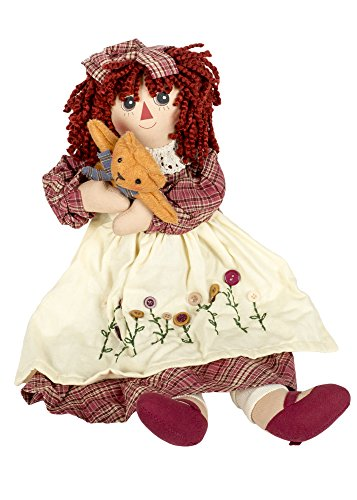 Delton Products Corp Girl Raggedy with Kitty Cat 19 inch Cotton Blend Plush Table Top Figurine Doll Multicolor