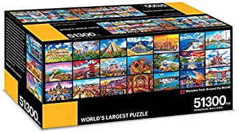 KODAK Premium Puzzle Presents  The World s Largest Puzzle 51,300 Pieces 27 Wonders from Around The World 28.5 Foot x 6.25 Foot Jigsaw Puzzle