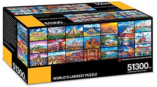 KODAK プレミアムパズルプレゼント 世界最大のパズル 51,300ピース 世界27の不思議 28.5フィート x 6.25フィート ジグソーパズル