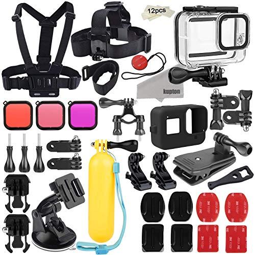 Kupton Zubehörset für GoPro Hero 8 Aktion Kamera-Zubehörpaket, wasserdichtes Gehäuse + Silikonhülle + Filter + Kopfbrustgurt + Saugnapfhalterung + Fahrradhalterung + Schwimmgriff