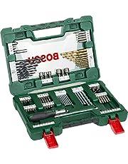 Bosch Professional 91-Delige Titanium Boren- en Bitset V-Line (Voor Hout, Steen en Metaal, Incl. Ratelschroevendraaier en Magnetische Uitschuifbare Pen)