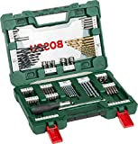 Bosch 2607017195 91-Piece Titanium Drill and Screwdriver Bit Set, V-Line (for Wood, Masonry and Metal, Including Ratchet Screwdriver and Magnetic Rod, Accessories for Drills and Screwdrivers), Green