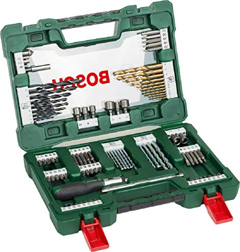Bosch Maletín V-Line con 91 unidades para taladrar y atornillar (para madera, piedra y metal, con destornillador de carraca y barra imantada, accesorios para herramientas de perforación y atornillado)