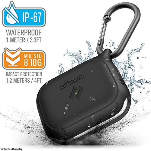 Catalyst - Waterproof Case for AirPods Pro, Carabiner, Compatible Wireless Charging, Retail Packaging, Stealth Black