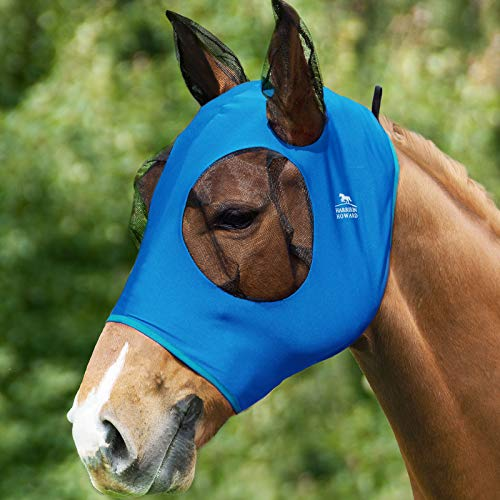 Harrison Howard Comfort Fit Horse Fly Mask Lycra Grip with Soft Mesh Fly Mask with Ears- Azure Blue