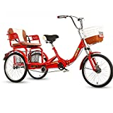 ZFF 20 Inch Adult Tricycle with Back Seat and Basket Trike Bike for Beginner Riders Single Speed 3 Wheel Three-Wheeled Bicycles Adjustable Height (Color : Red)