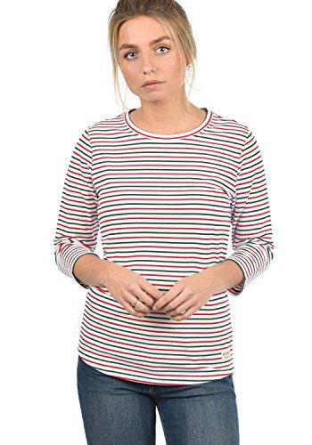 DESIRES Helene Damen Longsleeve Langarmshirt Streifenshirt Shirt Mit Rundhalsausschnitt Und 3/4 Arm, Größe:XS, Farbe:Ponderosa (3680)
