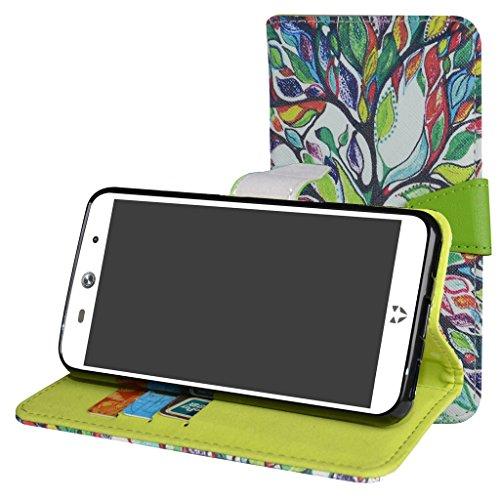 MAMA MOUTH WileyFox Swift 2 / Swift 2 Plus Hülle, Brieftasche Schutzhülle Hülle Hülle mit Kartenfächer & Standfunktion für WileyFox Swift 2 / Swift 2 Plus Smartphone,Love Tree