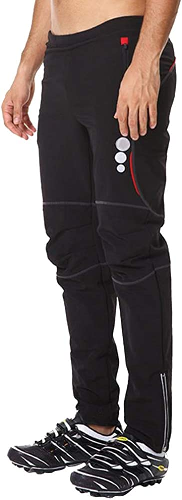 d.Stil Mens Cycling Winter Thermal Wind Waterproof Breathable Padded Pants Bicycle Running Sports Long Trousers Black