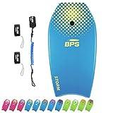 BPS 37' Bodyboard with Wrist Boogieboard Leash and Swim Fins Leash - Unisex Bodyboard (Blue/Yellow)