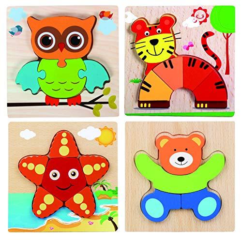 Georgie Porgy 4 Confezioni Puzzle in Legno Set Puzzle Animali in Legno per Giocattoli Educativi Regali di Compleanno per Bambini dai 18 mesi in su include Tigre Orso Gufo Stella marina