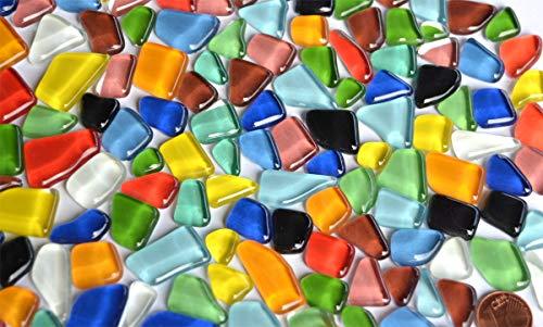 300 g de piedras de mosaico de vidrio suave irregular (poligonal), multicolor, no deja pasar la luz, aprox. 170 unidades