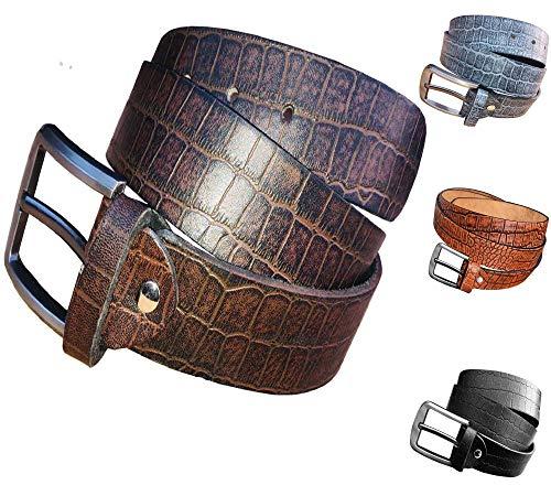 Cinturón de piel de cocodrilo para hombre y mujer, cinturón de piel auténtica, aspecto desgastado, hebilla plateada, cintura 85 – 155 cm marrón Vintage 145 cm