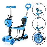 Yoleo 3-in-1 Kinder Roller Scooter mit Abnehmbarem Sitz, LED große Räder, Höheverstellbare Lenker für Kleinkinder Jungen Mädchen ab 2 Jahre (5-in-1 Blau)