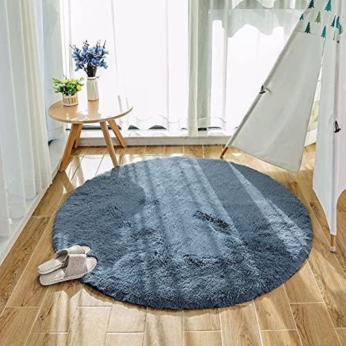 HEXIN alfombras mullidas de Interior súper Suaves y mullidas de Terciopelo Linda Alfombra de Dormitorio mullidaAdecuado para salón Dormitorio baño sofá Silla cojín(Gris,120x120cm)