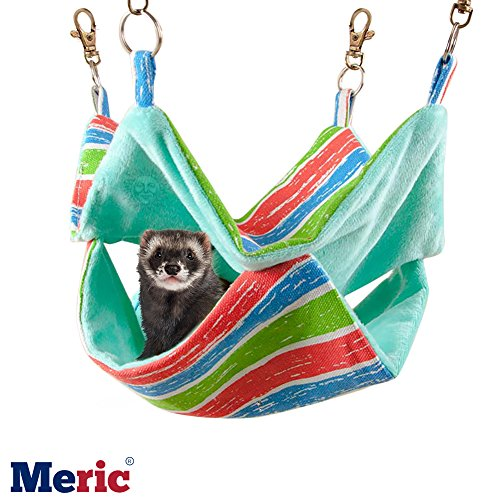 Meric Ferret Hammock, 14x14 Inches, Cotton Sleeping Nest for Small Animals, Pet Cage Swinging Bed and Nap Sack, Warm Cashmere Inner Lining for Winter, Durable Canvas Mat, with Rings and Spring Hooks