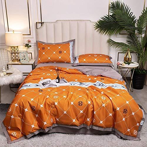Meet Beauty Seda Juegos De Sabanas 135, decoración de Dormitorio Cubierta Reversible Colcha en Relieve-Naranja_150x200cm una edredón de Verano
