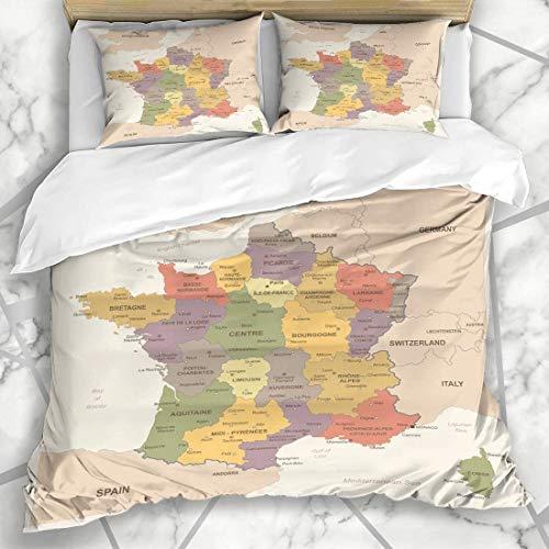 Conjuntos de funda nórdica Mapa de Francia Vintage Geografía Navegación Córcega Negocios detallados Finanzas políticas Educación Microfibra suave Dormitorio decorativo con 2 fundas de almohada