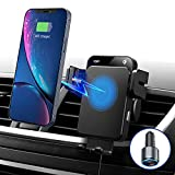 Wireless Car Charger Mount, Intelligent Auto Clamping Fast Charging Car Mount, Air Vent Phone Holder with QC 3.0 Adapter Compatible with iPhone 13/12 Pro/12/11 Series, Samsung S20/Note20 and More
