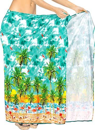 HAPPY BAY Frauen Badeanzug Pareo Sarong Sommer-Strand Meeresgrün_AA33 78