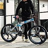 GAOXQ Bicicleta De Montaña, Bicicleta MTB De 21/24/27/30 Velocidades con Horquilla De Suspensión, Marco De Acero De Aluminio, Freno De Disco Doble, Bicicletas De Montaña White Blue-21 Speed