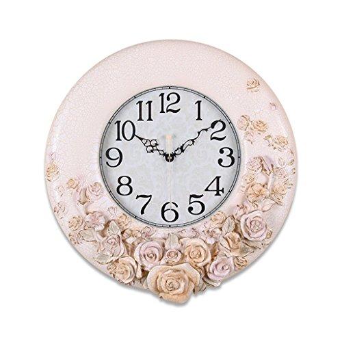 Rose Fleur Salon Chambre Mute Horloge Murale, Horloge Élégante Simple Européenne Pastorale Horloge, Jaune Clair, Hauteur 47 CM, Longueur 48 CM, Épaisseur 5 CM