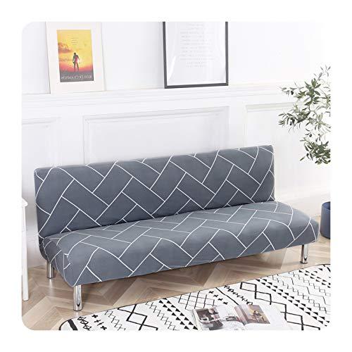 ZaHome Funda de sofá plegable con patrón geométrico, sin reposabrazos, elástica, funda protectora para muebles, WD-M 160-185 cm