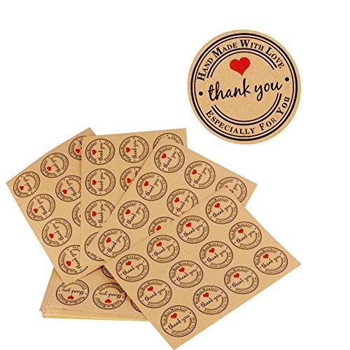 300pcs (3.8 * 3.8cm) Etiqueta Adhesiva Pegatina Kraft Sello Scrapbooking Gracias con Thank You Corazón para Bolsa Papel Jabón Regalo Recuerdo para Invitados Boda Aniversario Fiesta de Cumpleaños