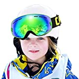 COPOZZ Kids Ski Goggles, G3 Kids Snow Snowboard Goggles - Helmet Compatible Over Glasses OTG Design Non-Slip Strap UV Protection for Children Youth Boys Girls (Green-Green (VLT 24.7%))