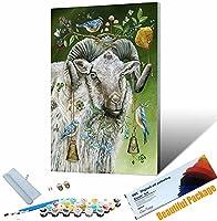 手塗り デジタル油絵 動物-羊 DIYペイント番号キット アクリルキャンバスにペイントと 40x50cm DIYフレーム