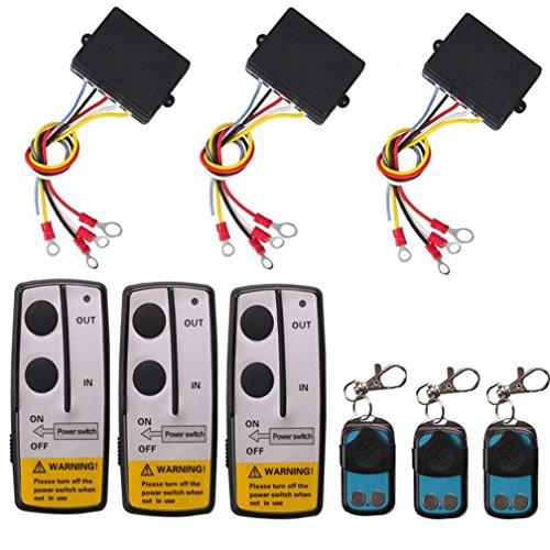 Qiorange Funkfernbedienung Wireless Elektrische Seilwinde Fernbedienung Controller 12V für LKW Jeep SUV-ATV 3 Stück (3 Set)